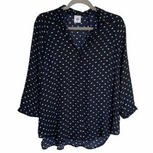 Cabi Martini Navy Button Front Dot Blouse 5019